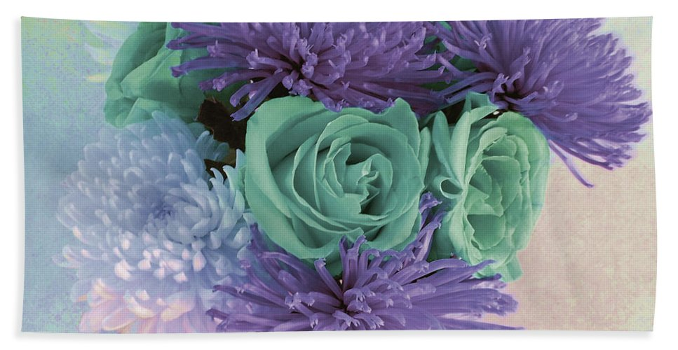 Photograph Beach Towel featuring the photograph Purple Flowers by Marian Bell