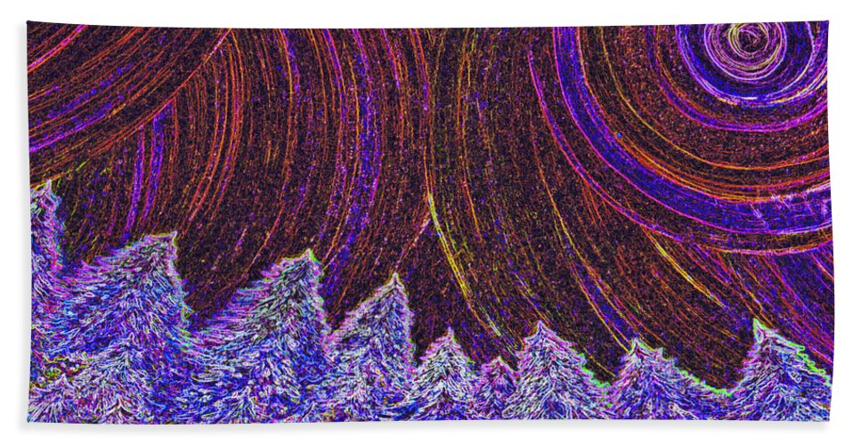 First Star Beach Towel featuring the painting Purple Forest Moon by First Star Art