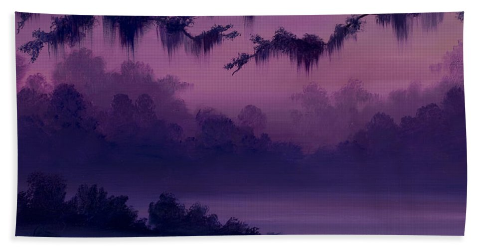 Sunrise Beach Towel featuring the painting Purple Jungle by James Christopher Hill