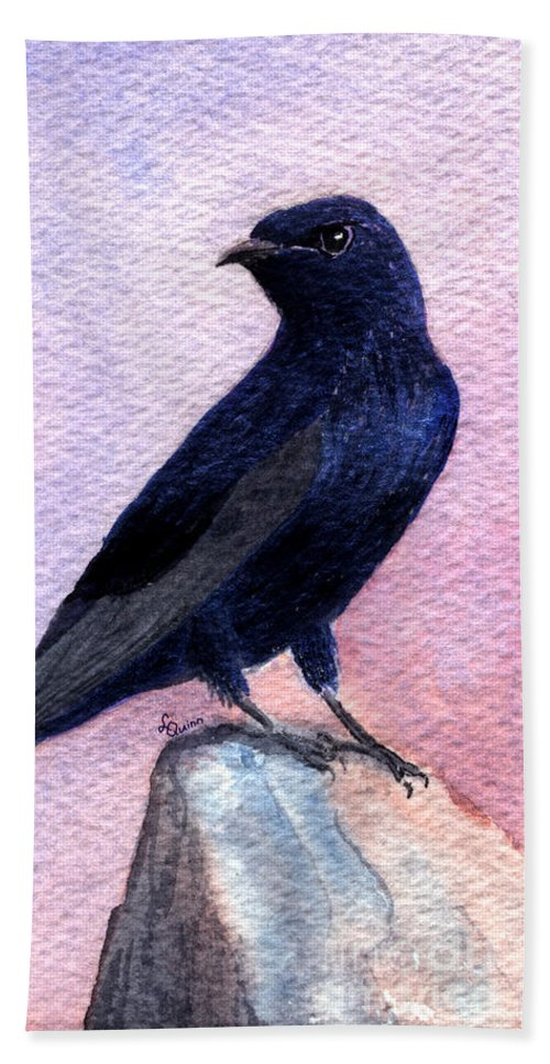 Bird Beach Towel featuring the painting Purple Martin by Lynn Quinn