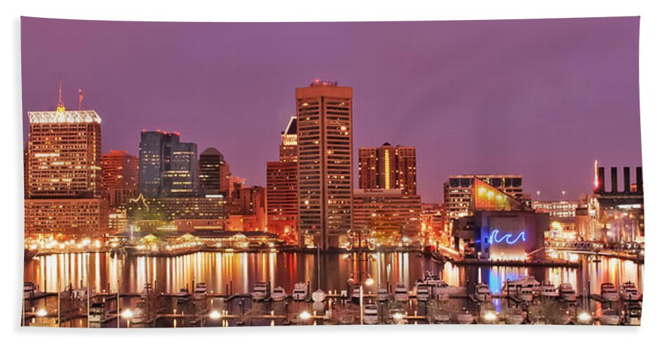 Baltimore Beach Towel featuring the photograph Purple Night In Baltimore by Wayne King