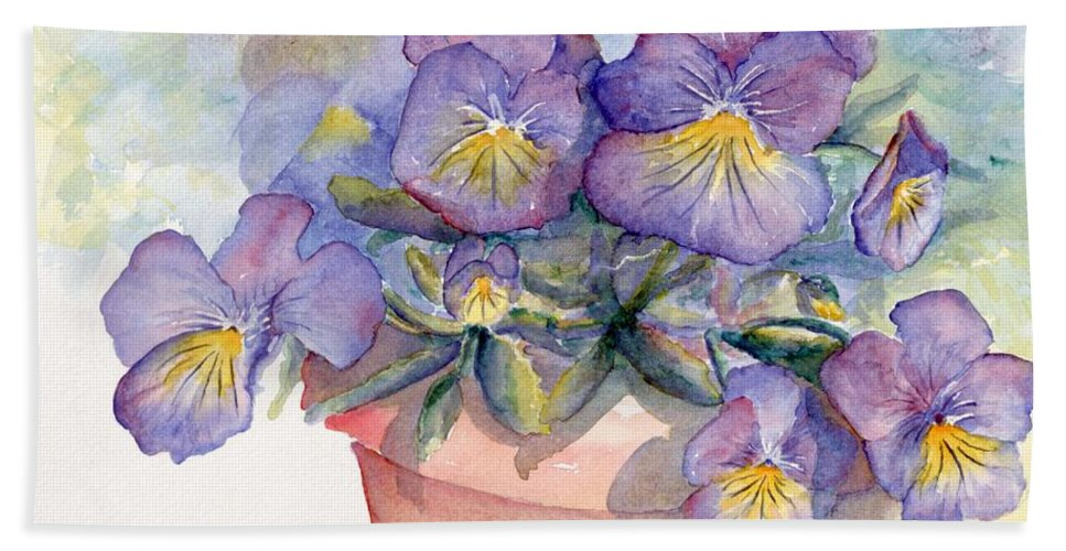 Pansy Beach Towel featuring the painting Purple Pansies by CheyAnne Sexton