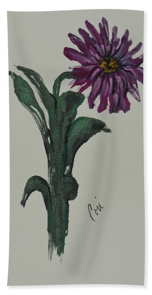 Flower Beach Towel featuring the mixed media Purple Simplicity by Cori Solomon