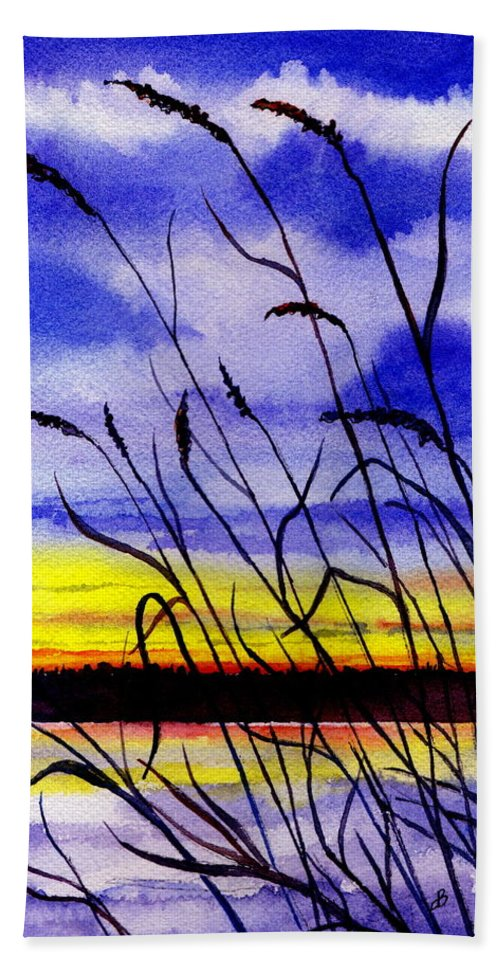 Watercolor Beach Towel featuring the painting Purple Sunset by Brenda Owen