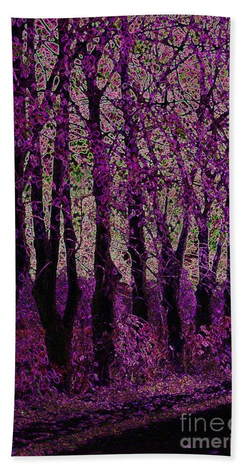 Purple Beach Towel featuring the digital art Purple Trees by Carol Lynch