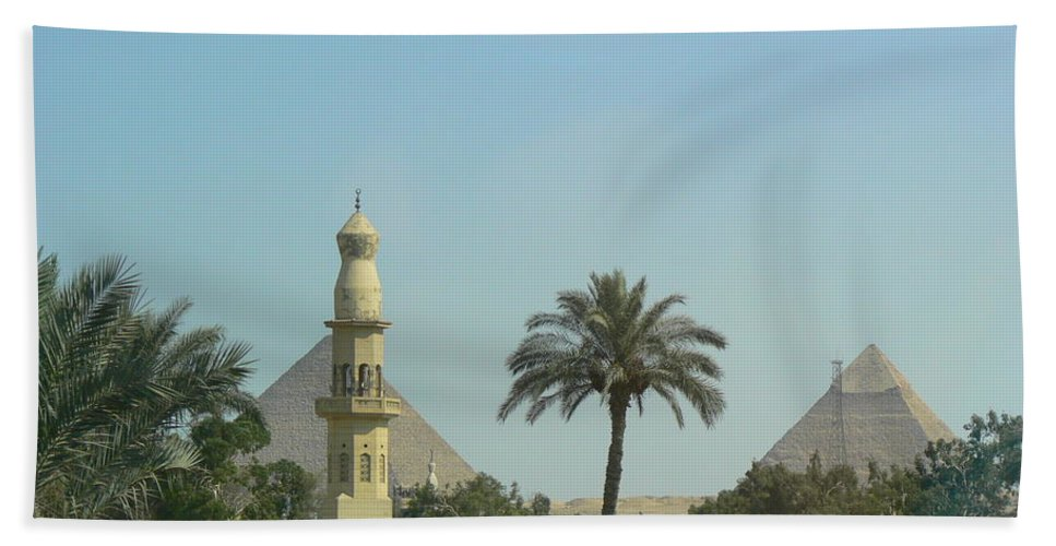 Giza Beach Towel featuring the photograph Pyramids And The Minaret by Katerina Naumenko