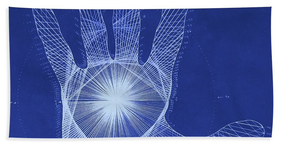 Hand Beach Towel featuring the drawing Quantum Hand Through My Eyes by Jason Padgett