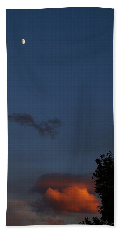 Quarter Moon Beach Towel featuring the photograph Quarter Moon Over Evening Cloud by Mick Anderson
