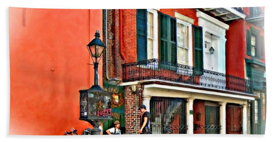 Nfrench Quarter Beach Towel featuring the photograph Quarter Time Painted 3 by Steve Harrington