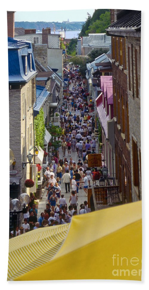 Summer Festival Quebec Canada People Person Persons Creature Creatures Crowd Crowds Building Buildings Architecture Umbrella Umbrellas Street Streets Structure Structures City Cities Cityscape Cityscapes Beach Towel featuring the photograph Quebec Summer Festival by Bob Phillips