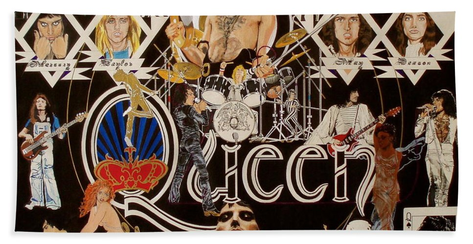 Freddie Mercury;brian May;roger Taylor;john Deacon;guitars;crown;royal;grapes;strawberries;drums; Beach Towel featuring the drawing Queen - Black Queen White Queen by Sean Connolly