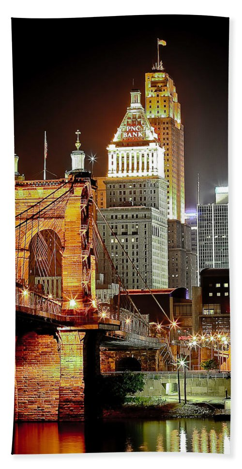 Usa Beach Towel featuring the photograph Queen City At Night by Keith Allen