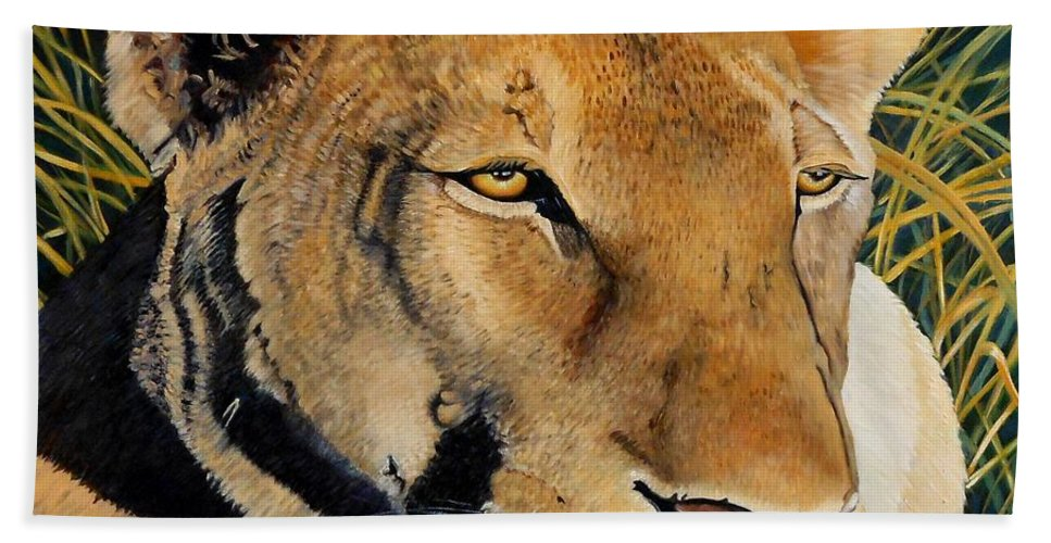 Lion Beach Towel featuring the painting Queen Of The African Savannah by Caroline Street