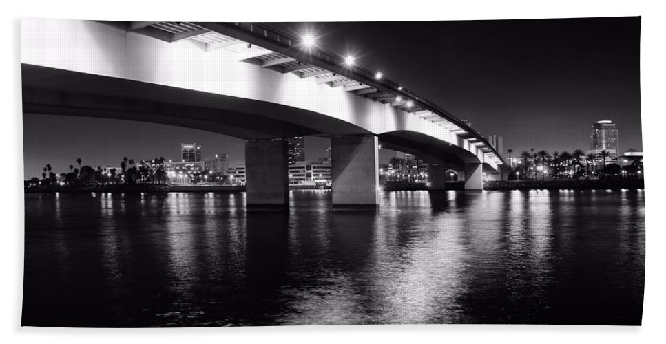 Long Beach Beach Towel featuring the photograph Queensway Bridge by Jenny Hudson