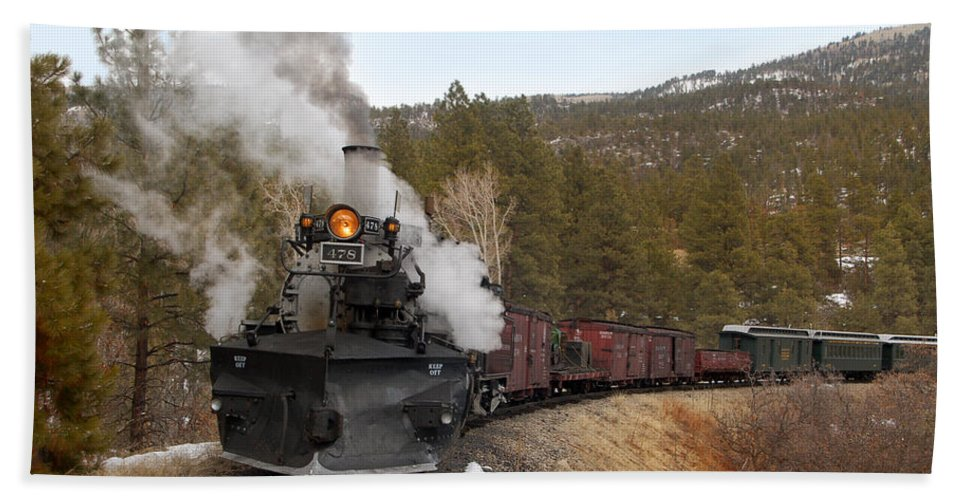 Steam Train Beach Towel featuring the photograph Quick Stop On The Line by Ken Smith