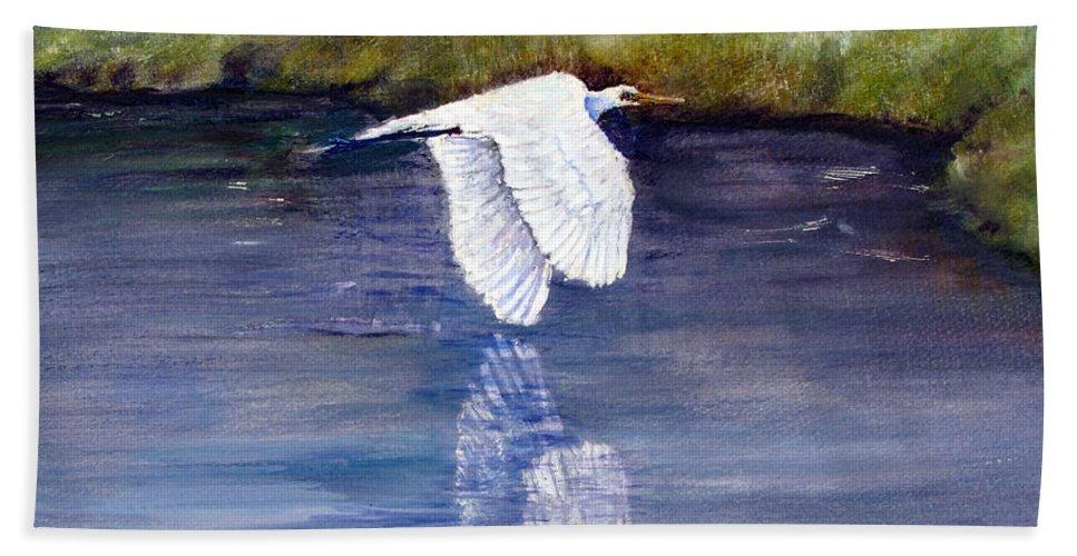 Florida Beach Towel featuring the painting Quiet Flight by Loretta Luglio