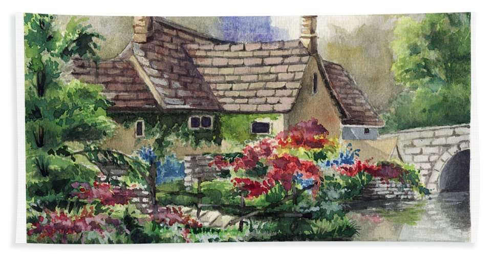 House Beach Towel featuring the painting Quiet House Along The River by Alban Dizdari