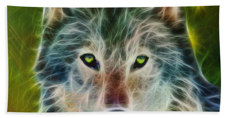 Wolf Beach Towel featuring the digital art Quiet Majesty - Square Fractalized Version by John Beck
