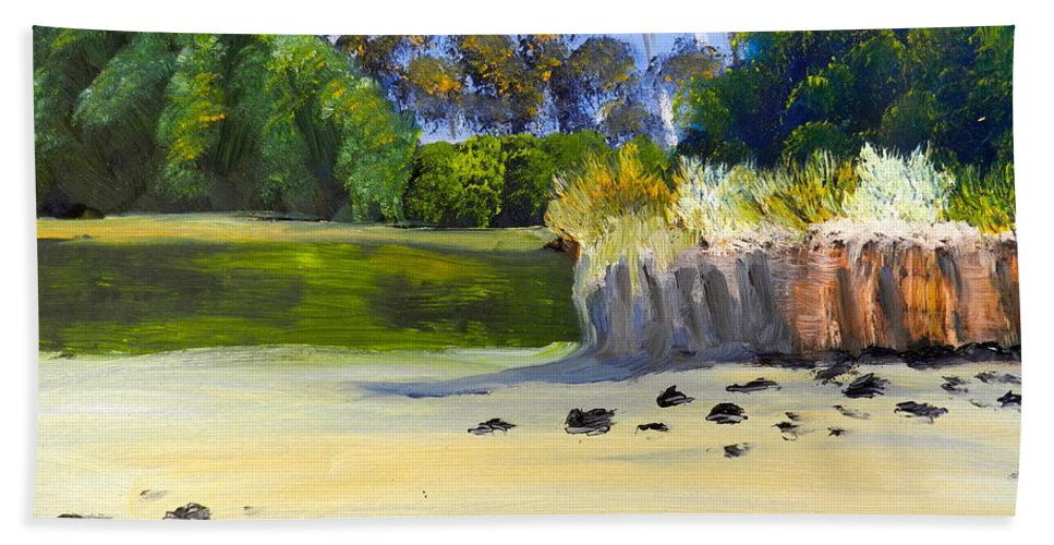 Impressionist Beach Towel featuring the painting Quiet Sand By The Creek by Pamela Meredith