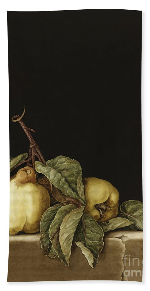 Still Life Beach Towel featuring the painting Quinces by Jenny Barron