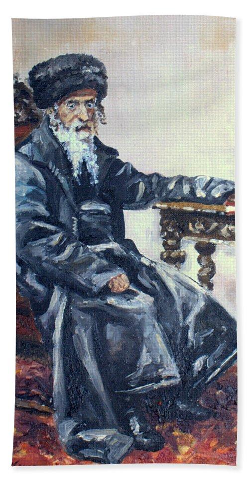 Rabbi Beach Towel featuring the painting Rabbi Meisels by Luke Karcz