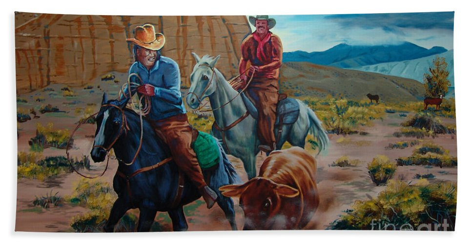 Canvas Prints Beach Towel featuring the painting Rabbitbrush Round-up by Joseph Juvenal