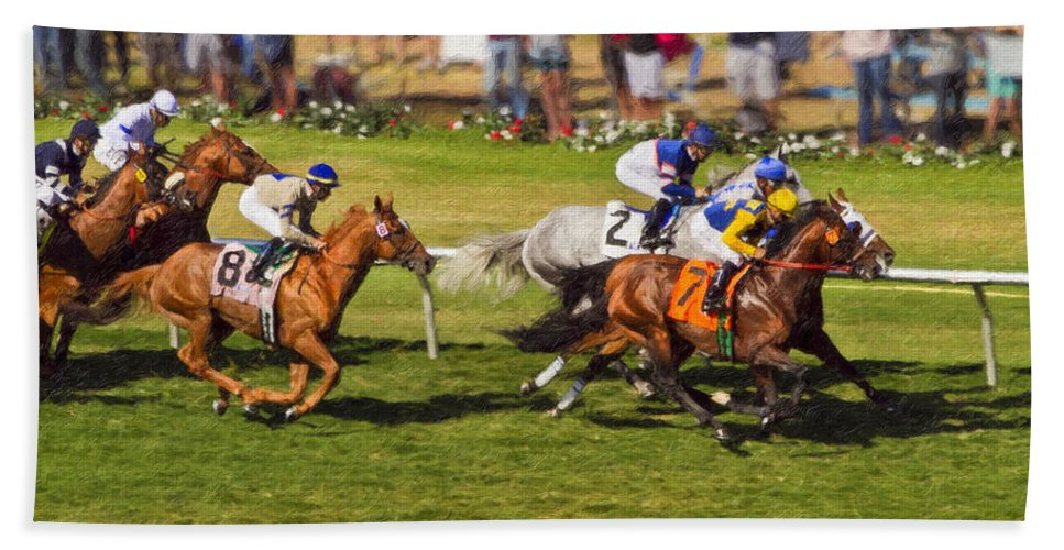 Del Mar Beach Towel featuring the painting Race 6 - Del Mar Horse Race by Angela Stanton