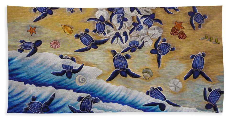 Leather Back Turtle Beach Towel featuring the tapestry - textile Race For Survivor Hand Embroidery by To-Tam Gerwe