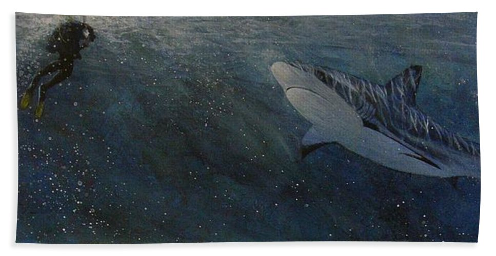Underwater Beach Towel featuring the painting Race To The Surface by Edith Peterson