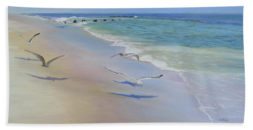 Seascape Beach Towel featuring the painting Racing Seagulls by Lea Novak