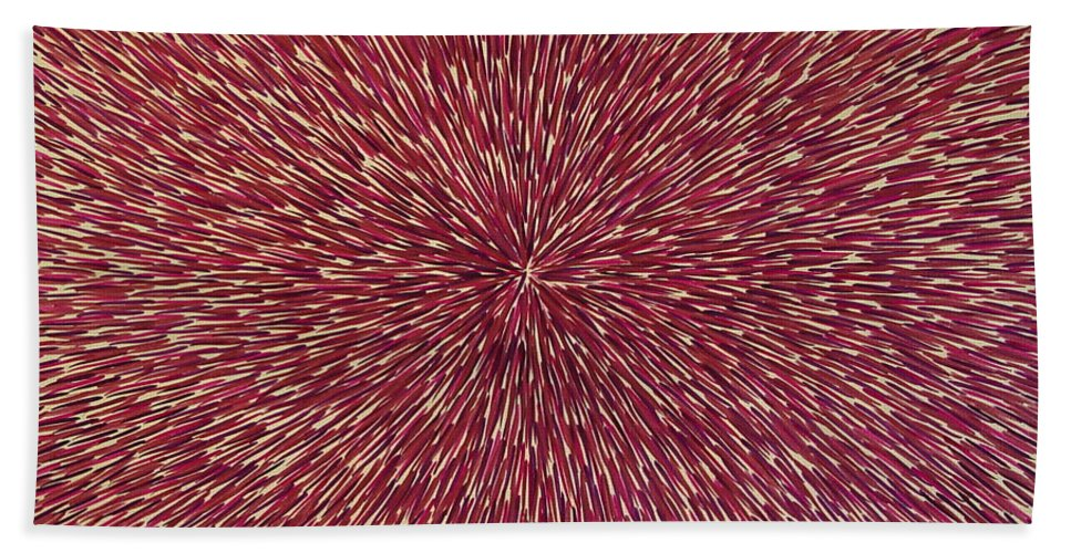 Abstract Beach Towel featuring the painting Radiation With Brown Magenta And Violet by Dean Triolo