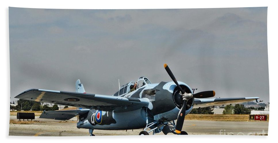 Grumman F4f Wildcat Beach Towel featuring the photograph Raf Wildcat by Tommy Anderson