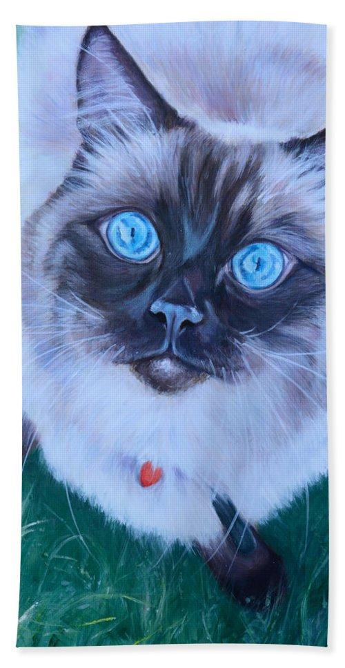 Ragdoll Cat Beach Towel featuring the painting Ragdoll by Deborah Cullen