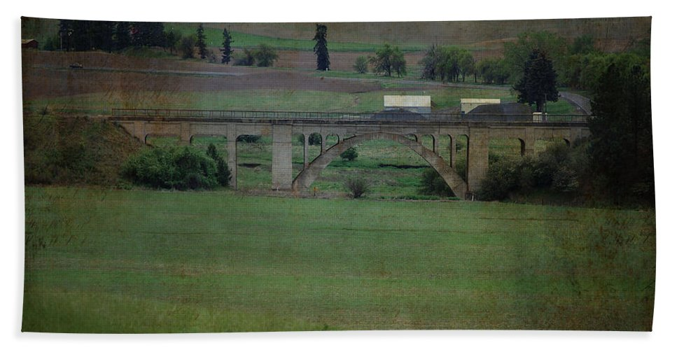 Railroad Beach Towel featuring the photograph Railroad Bridge At Rosalia Texture by Sharon Elliott