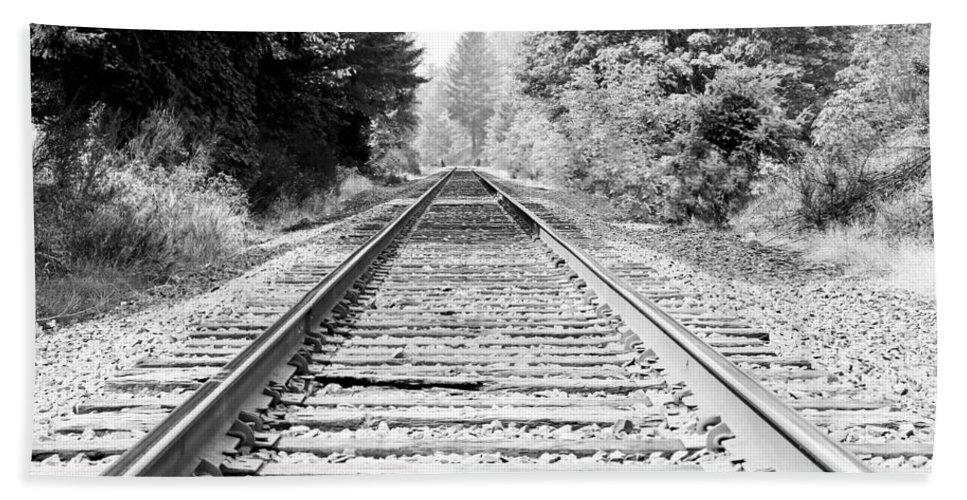Railroad Tracks Beach Towel featuring the photograph Railroad Tracks by Athena Mckinzie