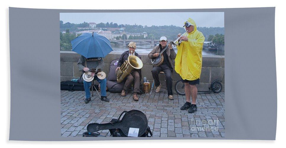 Prague Beach Towel featuring the photograph Rain Or Shine by Ann Horn