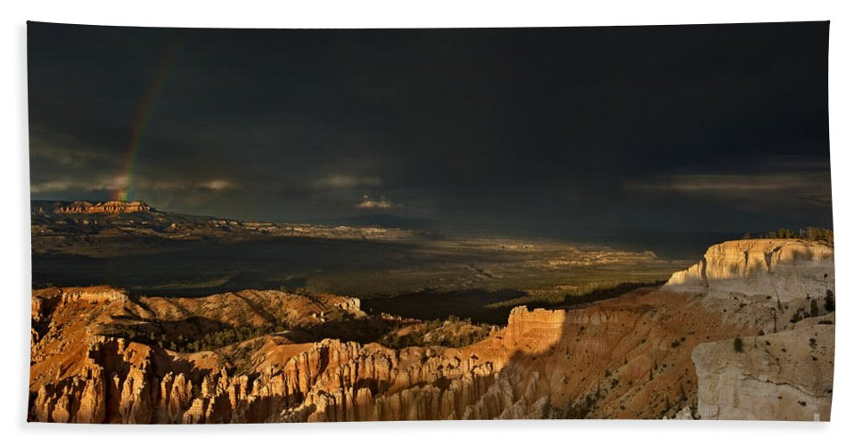 North America Beach Towel featuring the photograph Rainbow And Thunderstorm Bryce Canyon National Park Ut by Dave Welling