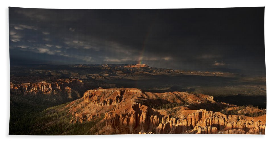 North America Beach Towel featuring the photograph Rainbow And Thunderstorm Over The Paunsaugunt Plateau by Dave Welling