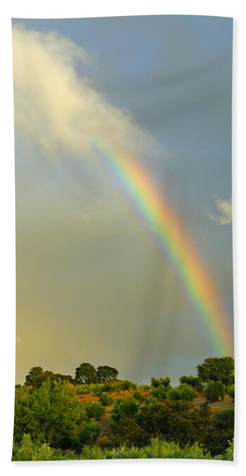 Rainbow Beach Towel featuring the photograph Rainbow At Sunset by Guido Montanes Castillo