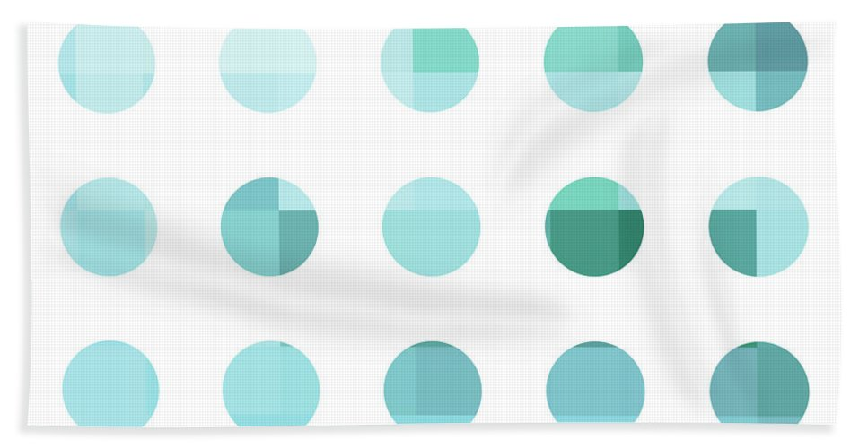 Abstract Beach Towel featuring the painting Rainbow Dots Aqua by Pixel Chimp