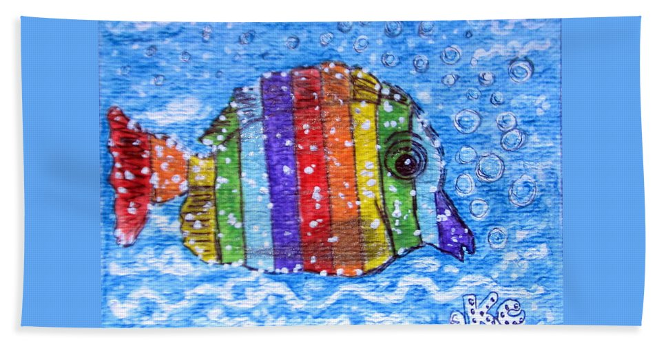 Fish Beach Towel featuring the painting Rainbow Fish by Kathy Marrs Chandler