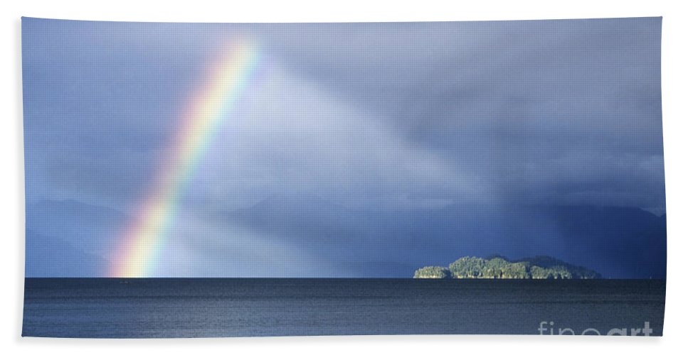 Rainbow Beach Towel featuring the photograph Rainbow Over Lake Todos Santos Chile by James Brunker