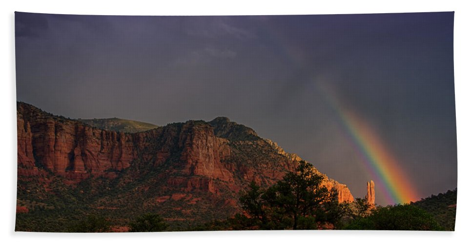 Sedona Beach Towel featuring the photograph Rainbow Over Sedona by Saija Lehtonen