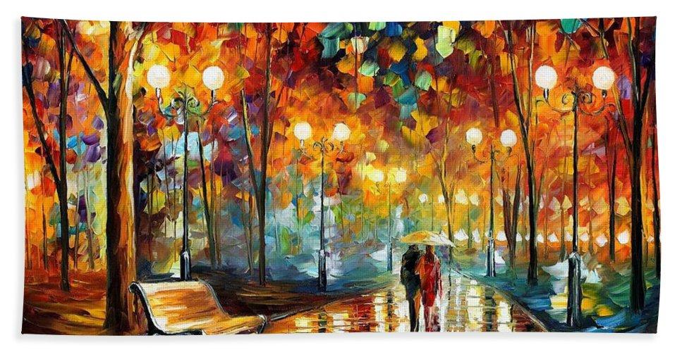 Leonid Afremov Beach Towel featuring the painting Rain's Rustle 2 - Palette Knife Oil Painting On Canvas By Leonid Afremov by Leonid Afremov