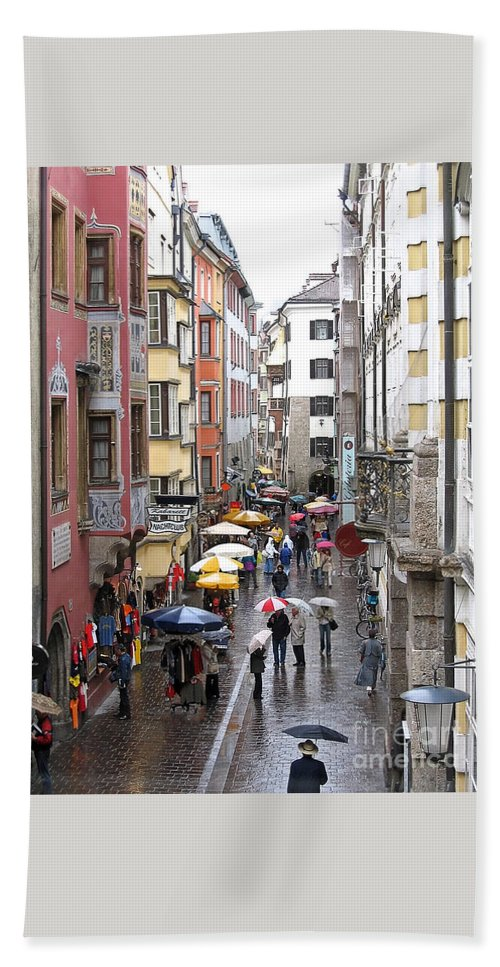 Innsbruck Beach Towel featuring the photograph Rainy Day Shopping by Ann Horn