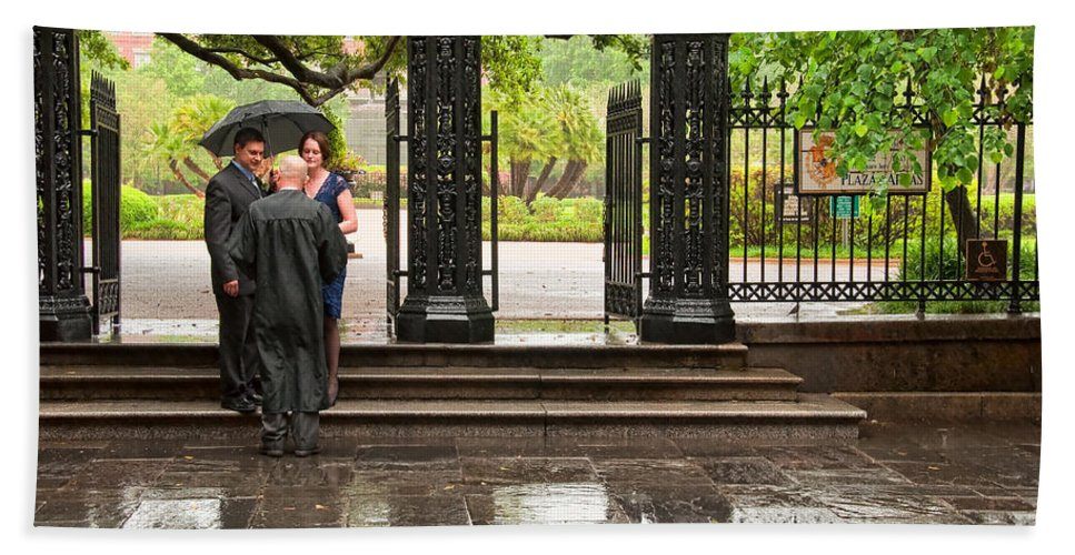 Wedding Beach Towel featuring the photograph Rainy Destination Wedding In Jackson Square New Orleans by Kathleen K Parker