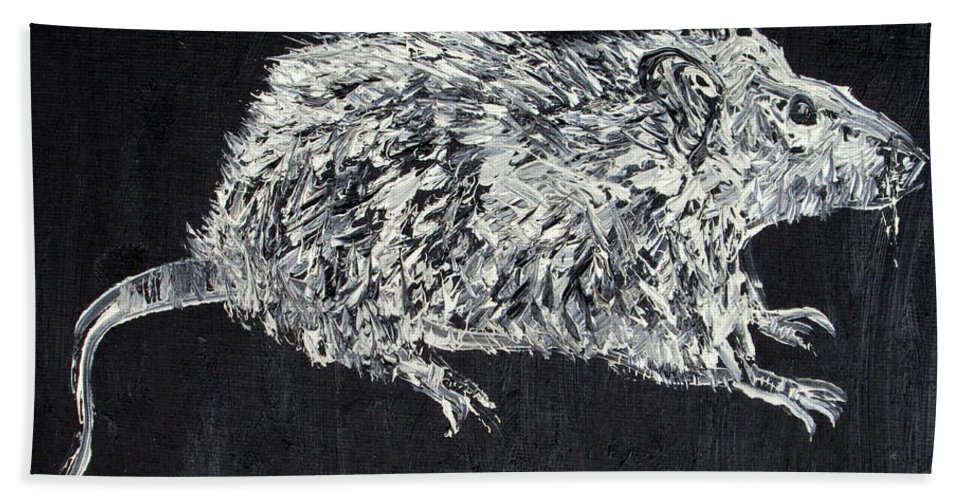Rat Beach Towel featuring the painting Rat - Oil Portrait by Fabrizio Cassetta