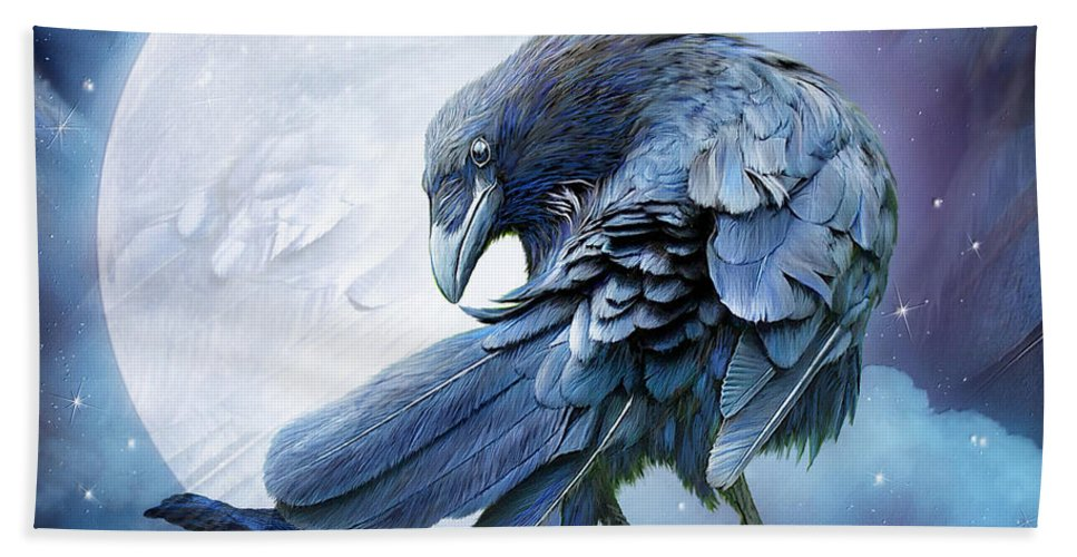 Raven Beach Towel featuring the mixed media Raven Moon by Carol Cavalaris