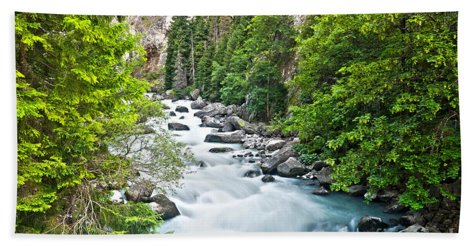 Alps; Beautiful; Blue; Clean; Creek; Environment; Flow; Flowing; Foliage; Forest; Fresh; Freshness; Green; Landscape; Motion; Mountain; Nature; Outdoors; Rapid; Ravine; River; Rock; Rocks; Running; Smooth; Spring; Stone; Stream; Summer; Tranquil; Travel; Tree; Water; Waterfall; Wet; Wild; Gorge; Valley; Aosta; Italy; Beach Towel featuring the photograph ravine in Verney Dora by Antonio Scarpi