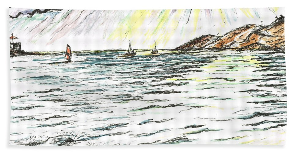 Teresa Beach Towel featuring the painting Rays Of Sunshine Between Clouds by Teresa White